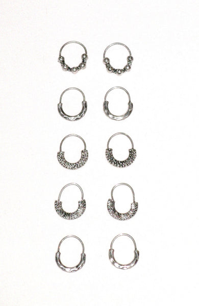 Hair Rings Silver 10 Piece Set Etched Beaded Hammered Tribal Festival Jewelry For People With Free Gypsy Spirit