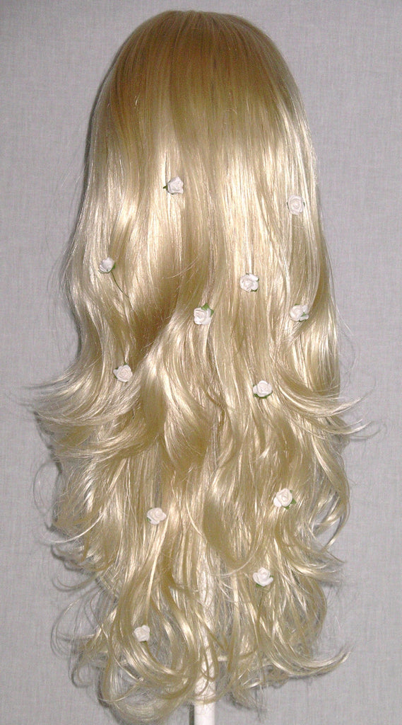 White Hair Flowers Wedding Headpiece Flowers For Braids Buns Ponytails Long Flowing Hair Wear Them Anywhere Necklace Bracelet Coachella
