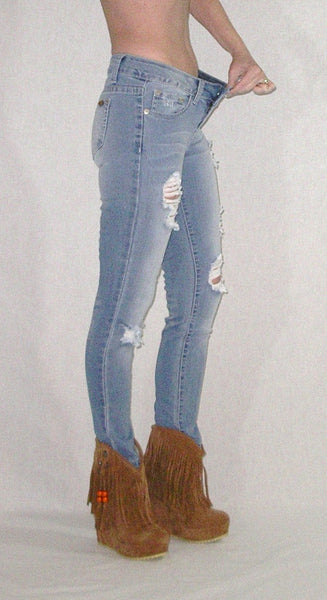 Destroyed Faded Skinny Jeans Stretch Denim Distressed Five Pocket Boho Hippie Gypsy Pants Sizes 1, 3, 5, 7, 9, 11, 13, and 15