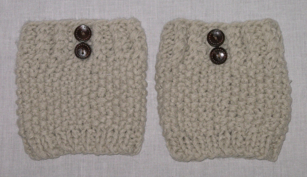 Pebble Boot Cuffs In Oatmeal With Wood Buttons Boho Boot Toppers Beige Tan One Size