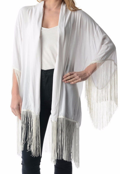 Longhorn Skull Boho Kimono White Super Long Fringe Size Medium / Large Black Cow With Pretty Flowers Roses Feathers Designs By Haute Society