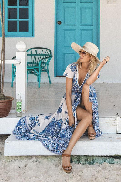 Blue White Bohemian Dress