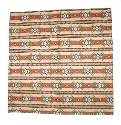 Aztec Bandana Tan Turquoise Brown Indian Print Boho Scarf Tribal Neckerchief