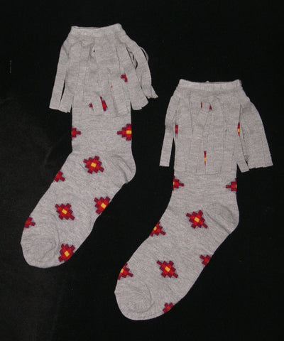 Aztec Boho Boot Socks With Fringe Gray Crew Red Yellow Southwestern Print Cowgirl Western Size 4-10
