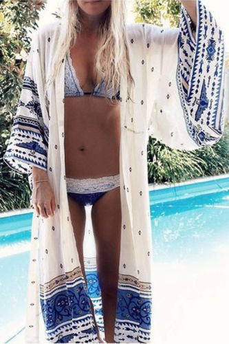 Thunderbird Maxi Kimono Boho Blue White Golden Print Gypsy Spell Long Beach Wrap One Size Fits Small Medium Large XL