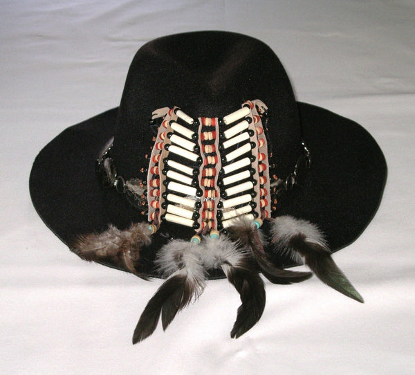 Tribal Festival Hat Black Wide Brim Fedora Indian Hair Pipe Beads Silver Conchos Natural Feathers Handmade One Of A Kind