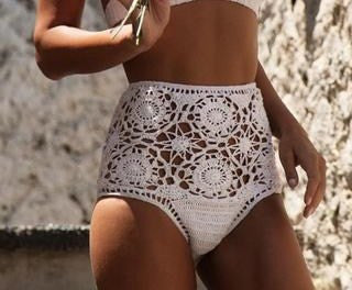 High Waist Crochet Bikini Boho White Off The Shoulder Lace Up Front Top With High Waisted Bottoms Tassel Ties Festival Or Beach Sizes Small Medium Or Large