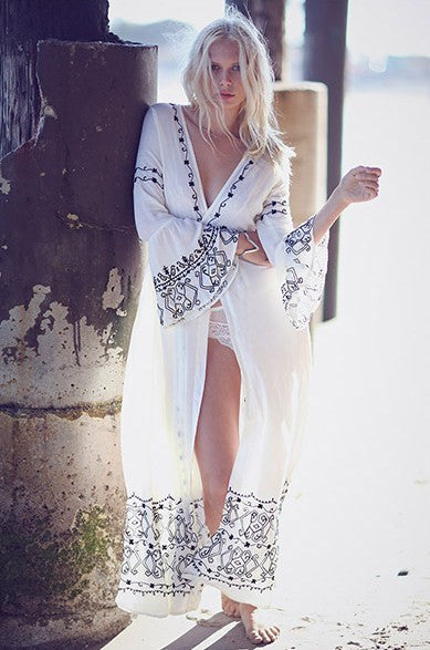 "Maxi Length Boho Kimono ""Honey Wrap"" Bell Sleeved Long White With Black Embroidery Festival Cover Up Small Medium Or Large"
