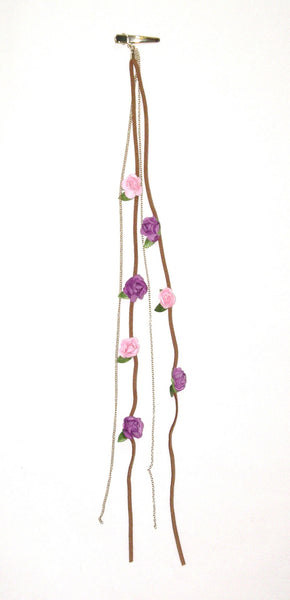 Purple And Pink Flowers Hair Roach Clip Leather Laces And Gold Chain Dangles Boho Gypsy Roses Wear Hippie Flowers In Your Hair