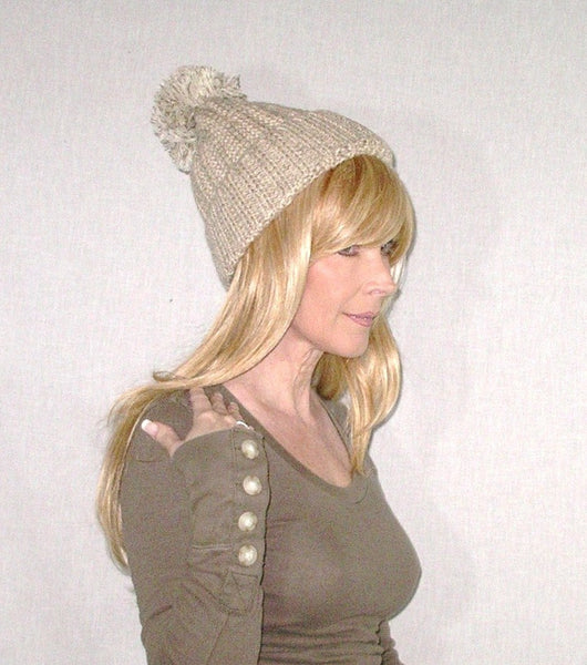 Beanie With Pom Pom Tan Beige Marled Thick Plush Cuffed Stocking Cap Confetti Speckled Chunky Winter Hat Oversized Pom