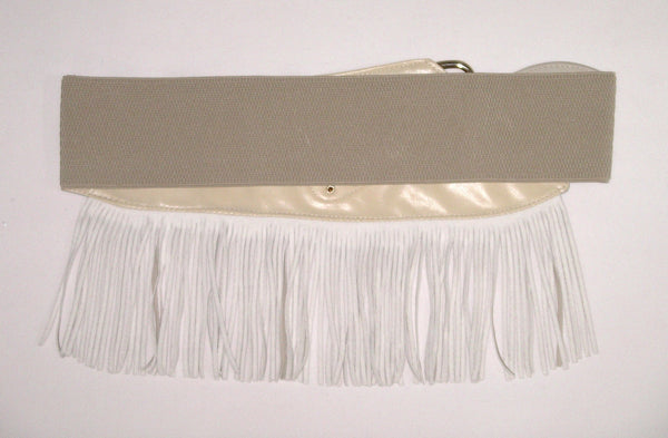 "Fringe Belt Boho Beige Vegan Leather Wide Elastic Gold Studs Waist Cincher Cowgirl Western Southwestern 4"" Wide With 4"" Fringe XS Small Medium Large"