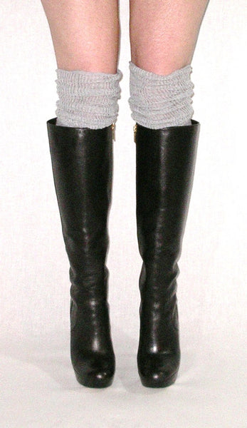 Slouch Top Boot Socks Gray Over The Knee Boho Pointelle Lace Scrunch Toppers Thigh High Knee High