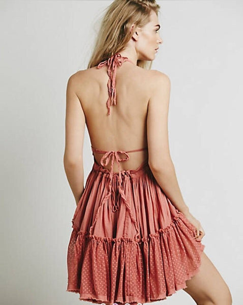 "Boho Mini Dress ""100 Degree"" Wood Rose Pink Halter Top With Tiered Polka Dot Netting Sizes Small Medium Or Large Free Spirited People"