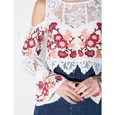 "Bell Sleeve Embroidered Top ""Cecelia"" Bohemian White With Lace And Red & Pink Embroidery Cold Shoulder Midrift Shirt Small Medium Or Large"