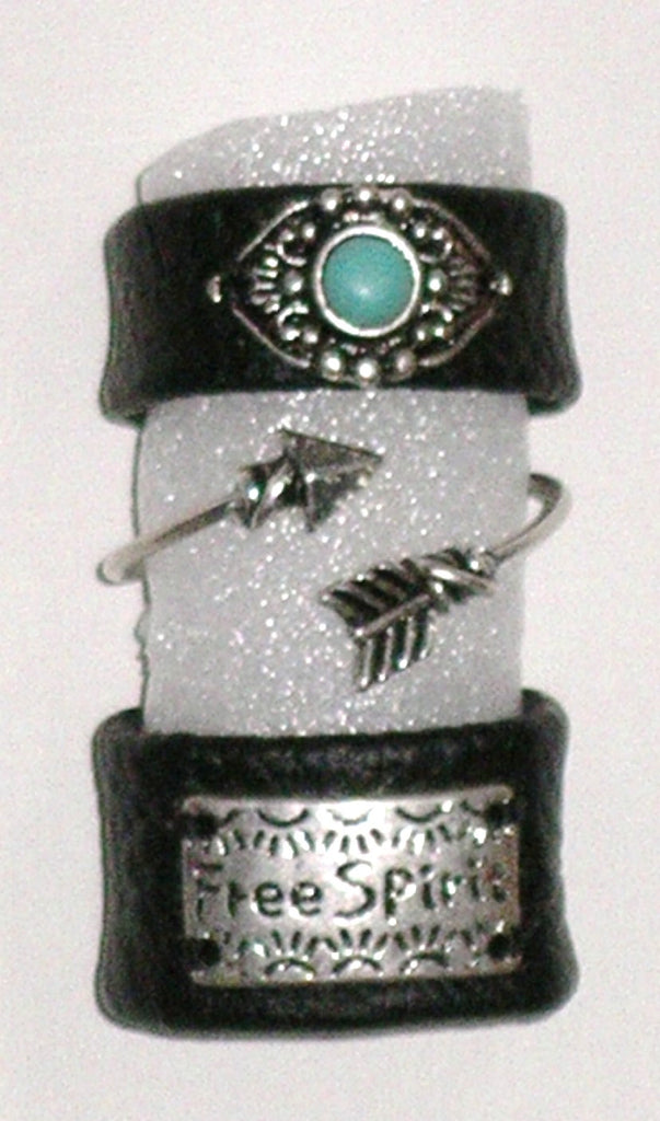 "Stackable Rings ""Free Spirit"" Boho Arrow And Indian Turquoise 3 Piece Set Stretch Vegan Leather One Size Fits All Gypsy Festival Jewelry"