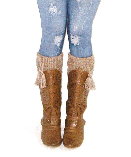 Confetti Boot Cuffs With Tassels Boho Tan Light Brown Cuffed Cable Knit Speckled One Size