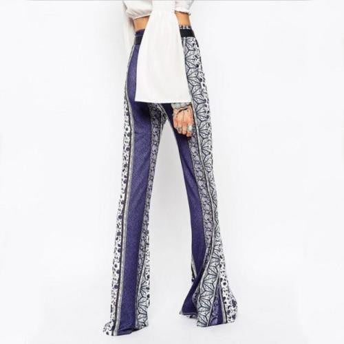 "Boho Bell Bottoms ""Oracle"" Blue & White Print Floral Paisley Geometric Available In Sizes Small Medium Or Large"
