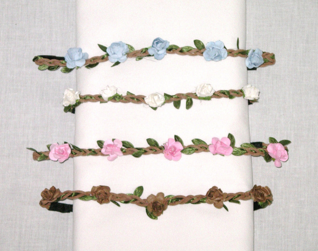 Flower Crown With Tiny Roses Pink Blue White Or Mocha Available