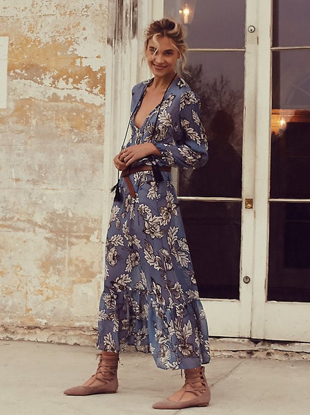 "Boho Maxi Dress ""Santa Rosa"" Blue Floral Long Peasant Sleeves Ruffled Tassel Ties Relaxed Sheer Summer Dress Small Medium Large Or Extra Large"