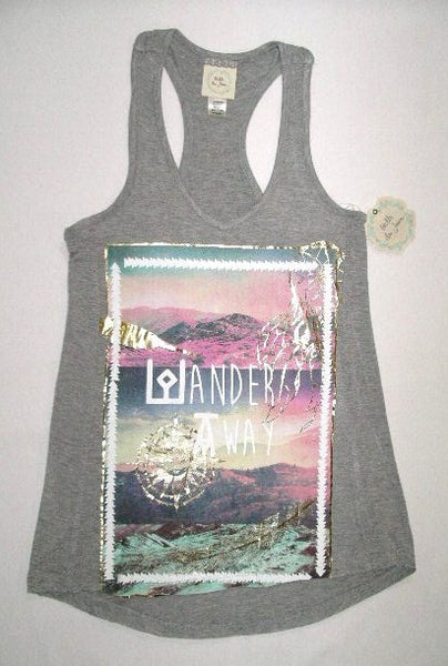 Wander Away Wanderlust Boho Tank Top Gray Size Extra Small XS Graphic Racerback Tee Shirt