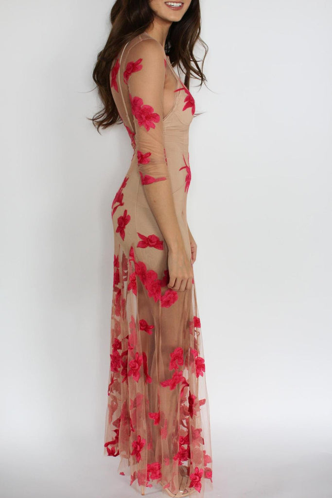 See Through Bohemian Maxi Dress Orchid With Red Flower Print Three Q Made4walkin