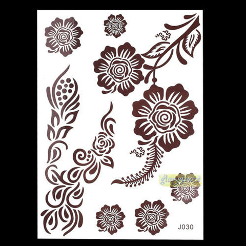 Henna Temporary Tattoos Brown Color Flowers Mandalas Mehndi Tattoo That Washes Off Easily