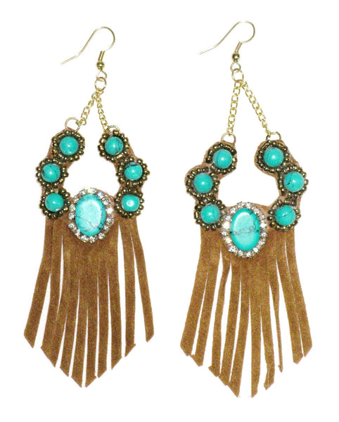Turquoise Suede Fringe Earrings Tan Vegan Leather And Stone Dangling On Gold Chains Boho Festival Jewelry Tribal Western Southwestern Squash Blossom