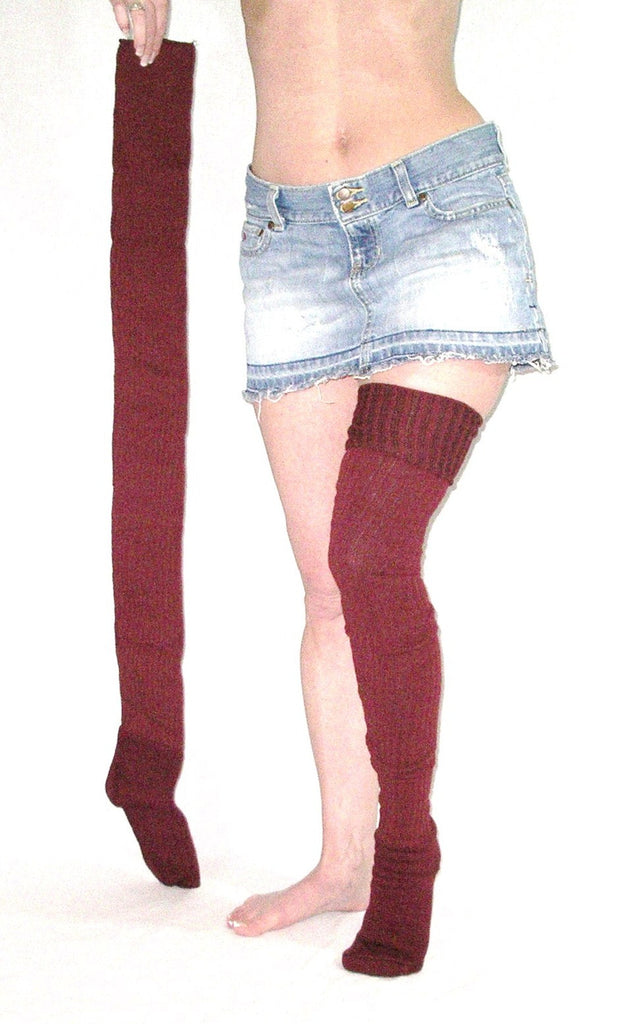 "Super Long Thigh High Socks Burgundy Ribbed Thick Winter Over The Knee Boot Socks 37"" Extra Long"