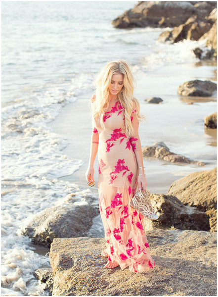 "See Through Bohemian Maxi Dress ""Orchid"" With Red Flower Print Three Quarter Sleeves See Thru Sizes Small Medium Large Or Extra Large"