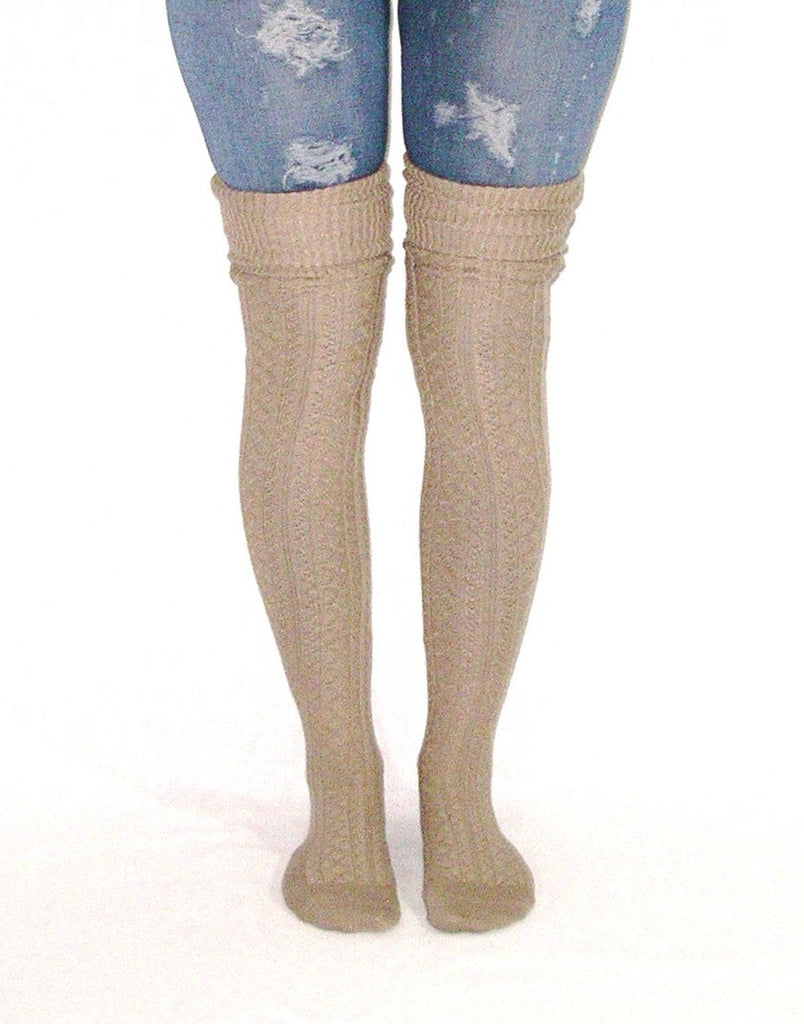 1c1866882 Mocha Over The Knee Slouch Top Boot Socks Light Brown Scrunch Them Or –  Made4Walkin