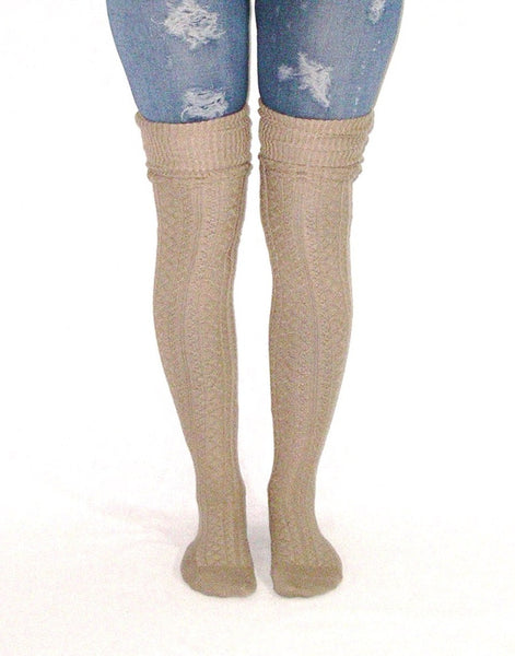 Mocha Over The Knee Slouch Top Boot Socks Light Brown Scrunch Them Or Cuff Them Wear Thigh High