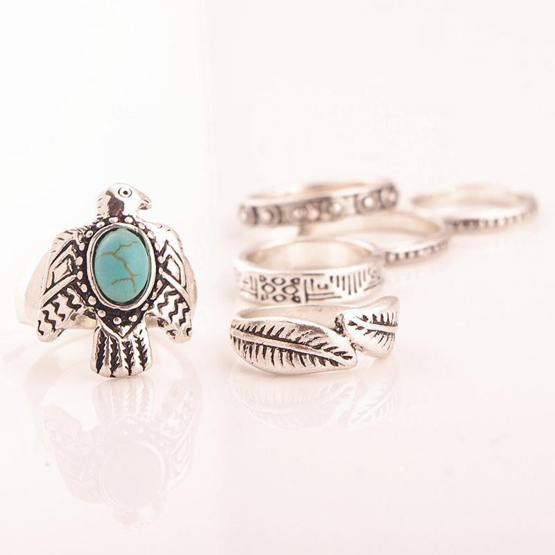 Phoenix & Feather Ring Set