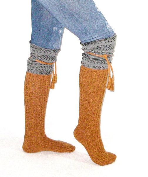 Tahoe Tassel Boho Boot Socks Gray / Whiskey Slouch Top Over The Knee Thick Waffle Knit Camel Vegan Leather Tassles