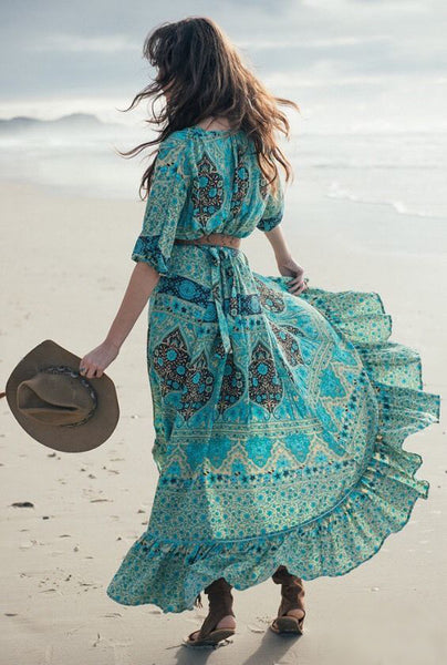 "Boho Maxi Dress ""Aloha Fox"" Wrap Front Ruffled Hem High Low Half Sleeves Turquoise Black Ivory ""Mermaid"" Print Includes Belt Small Medium Large Or Extra Large"