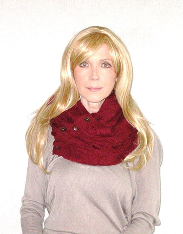 Boho Buttons Infinity Scarf Burgundy Chunky Soft Multiple Wood Button Winter Eternity Scarves