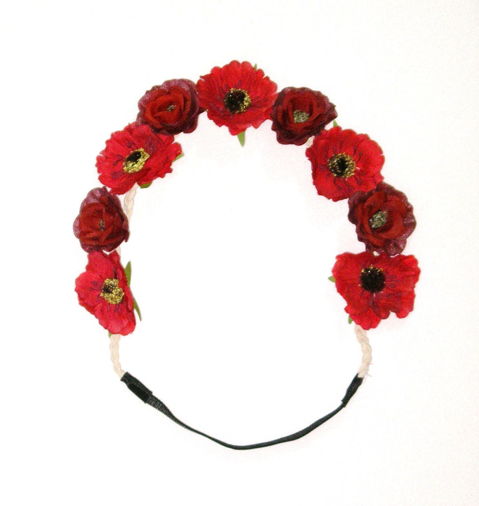 Red Poppy Flower Crown Floral Hair Wreath Boho Headband Crimson