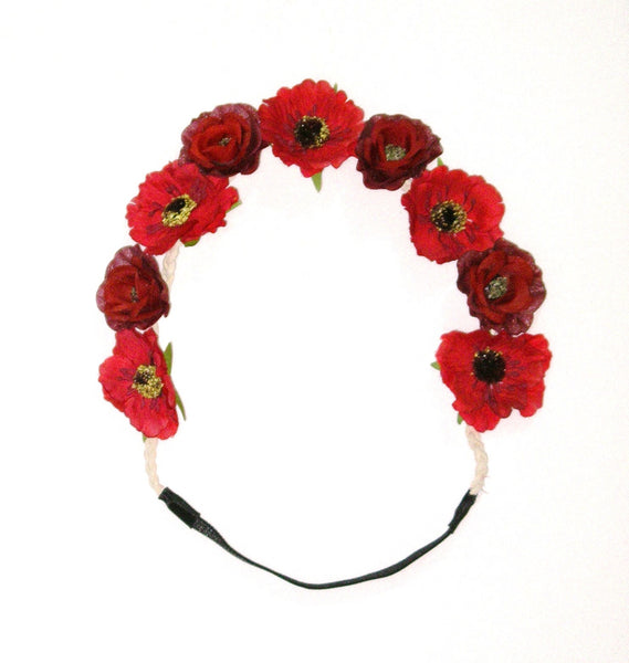 Red Flowers Headband