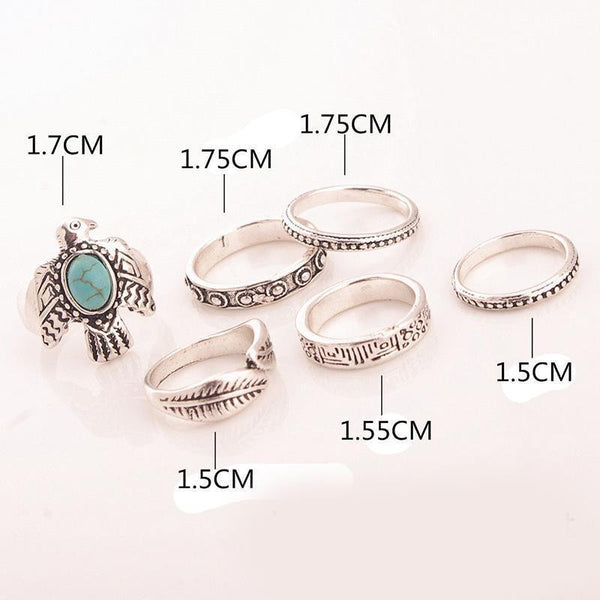 Phoenix & Feather Six Piece Stacking Rings Set Turquoise and Silver Tone Eagle Thunderbird Tribal Thumb And Midi Rings