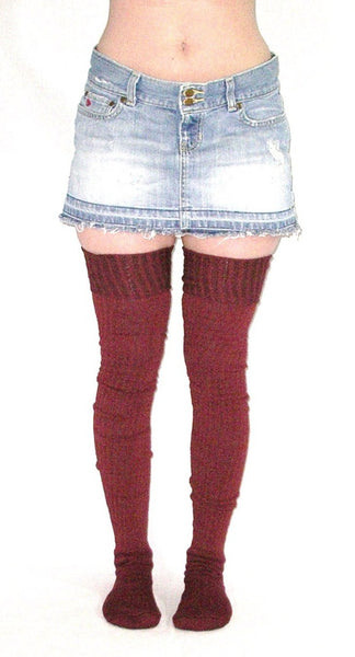 Super Long Thigh High Socks Burgundy Ribbed Thick Winter