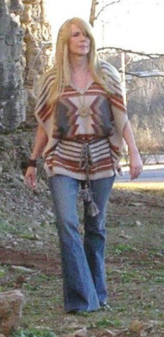 Aztec Pullover Sweater Looks Like A Poncho Adjusts Like A Caftan Beige Rust Gray Camel Warm Tunic Tassel Belt Size XS/S