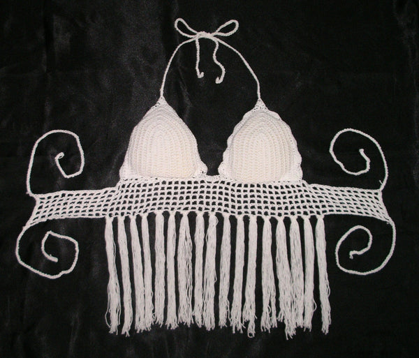 White Crochet Halter With Tassel Fringe Boho Festival Bralette Slightly Padded Fishnet Trim With Long Hippie Fringes Fits Small Medium Or Large