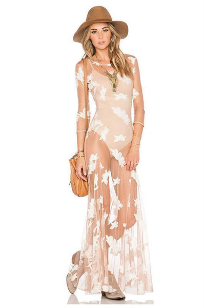 "See Through Bohemian Maxi Dress ""Orchid"" With White Flower Print Three Quarter Sleeves See Thru Sizes Small Medium Large Or Extra Large"