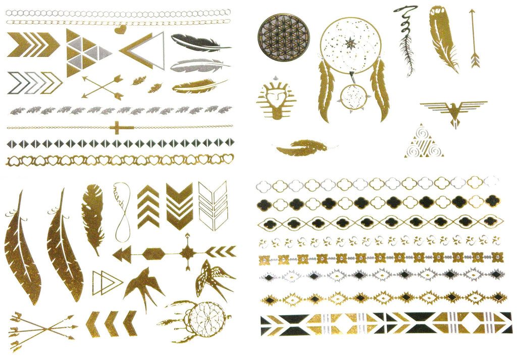ea18b7e2fae28 Made4Walkin. Metallic Temporary Tattoos Gold And Silver Four Sheets Boho ...