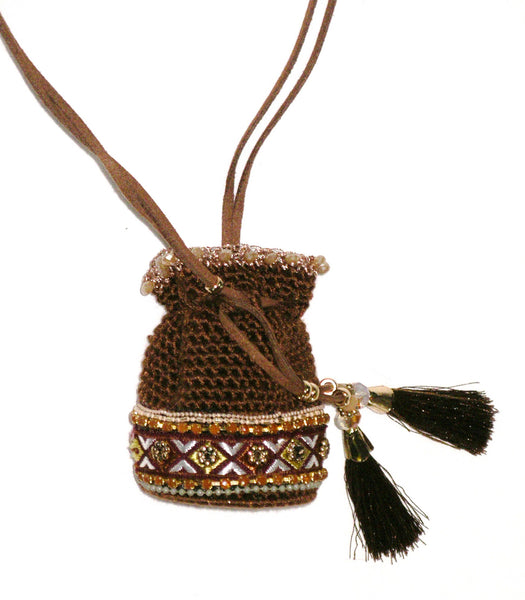 Medicine Bag Necklace Crochet With Aztec Border Brown Beaded With Tassels Gold Seed Beads Crystal Stash Tiny Neck Purse Festival Drawstring Amuletamulet necklace