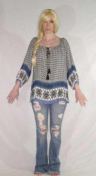 Papermoon Peasant Top Blouse Blue Print Tassel Ties Boho Tunic Shirt With Fancy Border Drawstring Neck Sizes Small Medium Or Large