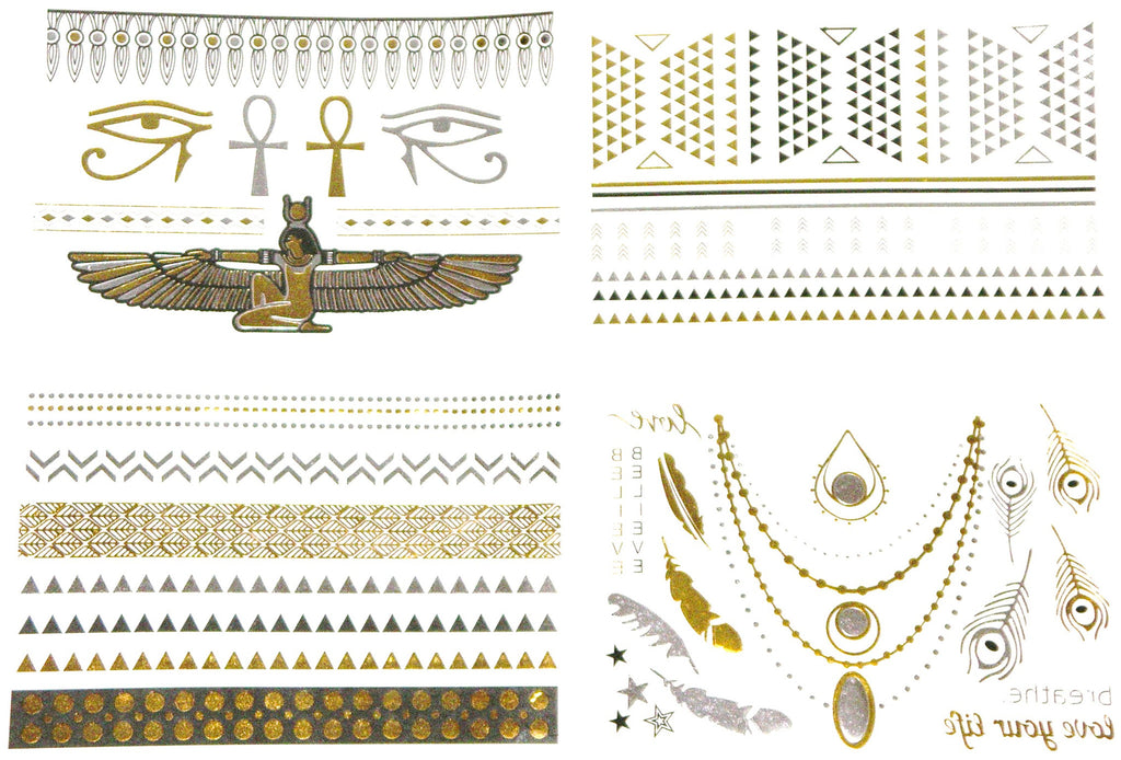 Gold & Silver Boho Temporary Tattoos Four Sheets Egyptian Isis Eye Of Horus And RA Ankh Necklace Bracelet Upper Arm Band Metallic Tattoos