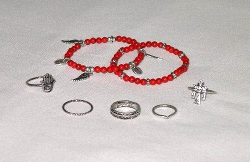 SALE 50% OFF Stacking Rings And Bracelets 7 Piece Set Turquoise Natural Or Coral 5 Ring 2 Bracelet Set Includes Hamsa Thunderbird Wings Asp Snake Symbols