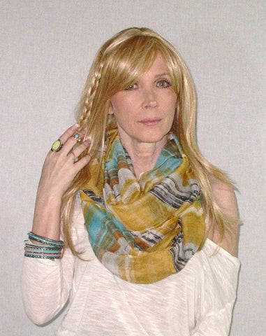 SALE 50% OFF Lightweight Infinity Scarf Boho Painted Desert Mustard Summer Spring Fall Scarves Mexican Serape Turquoise Black White Double Loop Eternity