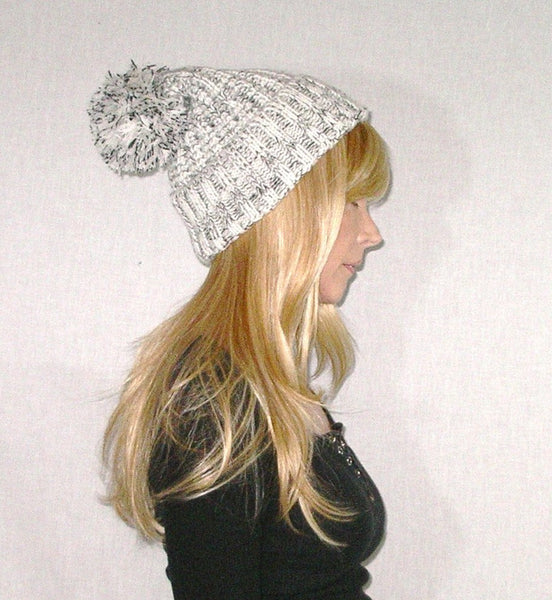 Beanie With Pom Pom Black White Marled Thick Plush Cuffed Stocking Cap –  Made4Walkin 95b0ce461c8