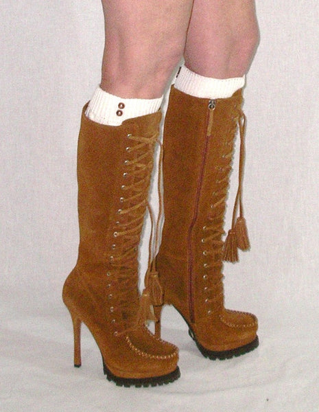 Cable Knit Boho Boot Cuffs Ivory For Knee High Thigh High Boots Or Ankle High Booties
